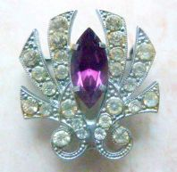 Vintage Late Art Deco Rhinestone Studded Statement Brooch